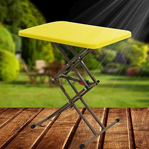 Portable Mini Klapptisch Kunststoff Outdoor Indoor Studie Tabelle Laptop Tisch einstellbar (Farbe : Gelb)