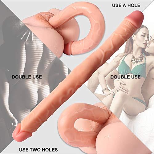 Doppio Realistico Dildo Doppia Penetrazione Stimolazione Anale Vaginale Coppia Lesbica Toys 46cm Colore di Carne