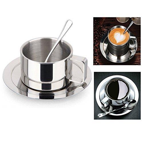 Itian Taza de café de acero inoxidable, tazas con cuchara y platillo,