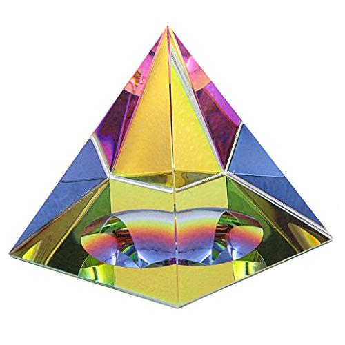 BTSKY - Pirámide cristal iridiscente con caja de regalo, con colores