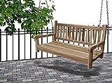 SAM Möbel Outlet Gartenschaukel Susana aus Teak Holz | Schaukelbank | hängende Bank mit 120 cm Breite | wetterbeständig und stabil | geschliffen und naturbelassen