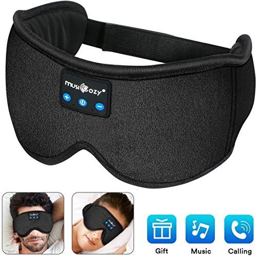 Schlafkopfhörer Bluetooth,Upgrade schlafmaske Augenmaske mit kopfhörern Eye Mask Sleep für Reisen mit Dem Flugzeug Maske mit Bluetooth Headset für iPhone, Android Handys, iPad, Tabletten -