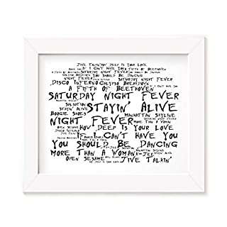 Saturday Night Fever Poster Framed Gifts A4 Print Movie Soundtrack Photo Frame A3 Song Lyrics Art
