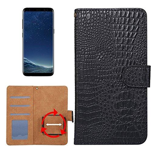 Krokodil-drehung (Allshopstock (#52) für Kompatibel mit : Galaxy S8 & S7 Edge & Kompatibel mit : Huawei P9 Plus Universal Drehung Klammer Krokodil Textur Flip- Leder-Etui (Schwarz))