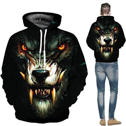 Unisexe imprimé 3D Loup Pull à manches longues Sweat à capuche Tops Chemisier - Autumnwind Noir (Wolf b)
