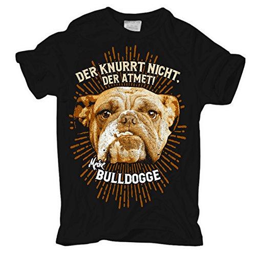 Männer und Herren T-Shirt Bulldogge - Der knurrt nicht , der atmet Schwarz