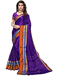 Saree Mall AURA Women's Cotton Silk Saree With Blouse Piece (Purple Sarees_7AURA7008_Free Size)
