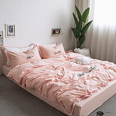 Fringe Bedding Sets Pink - MeMoreCool 100% Cotton Embroidery Princess Room Home Textiles Duvet Cover and Fitted Sheet Queen Girls Gifts