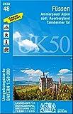 UK50-48 Füssen: Ammergauer Alpen, südl.Auerbergland, Tannheimer Tal, Neuschwanstein, Hohenschwangau, Nesselwang, Roßhaupten, Steingaden, Halblech, ... ... Karte Freizeitkarte Wanderkarte)