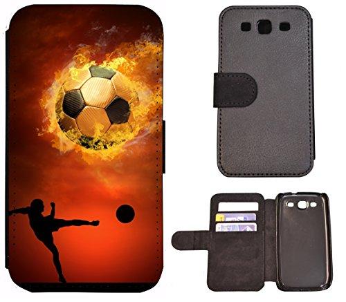 Hülle Galaxy S3 Hülle Galaxy S3 Neo Schutzhülle Flip Cover Case Samsung Galaxy S3 / S3 Neo (1333 Fußball Fussball Schwarz Braun Spieler) Logo Samsung S3 Case