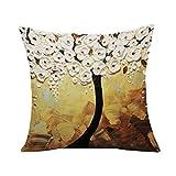 Lumanuby 1 federa per cuscino a forma di albero fiorito, stile vintage, pittura europea, colore bianco, per camera da letto, soggiorno o hotel ufficio, serie
