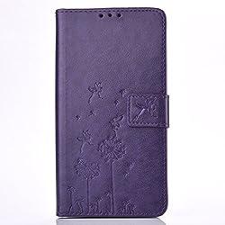 ecoway Carcasa/Cover/Funda Carcasa/Funda präge patrón Diseño Folio PU Funda de cuero estilo libro con función atril tarjetero
