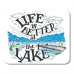 "AOHOT Mauspads Life is Better at The Lake House Sign in Vintage for Rustic Wall Lakeside Living Cabin Cottage Hand Mouse Pad Mats 9.5"" x 7.9"" for Notebooks,Desktop Computers Office Supplies"