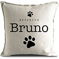 Personalised Dog Breed reserved Pet name strong Cushion Pillow Cover, paw prints 40cm 16 inches