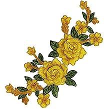 EMDOMO - Parches de tela con bordado de flores en 3D, diseño de encaje para