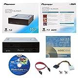 Pioneer BDR-2209 16X Internal Blu-ray BDXL DVD CD Burner Writer-Laufwerk in Kleinkasten mit FREE 3pk MDisc BD + Cyberlink Media Suite Software + Kabel und Befestigungsschrauben