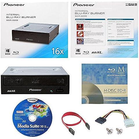 Pioneer BDR-2209 16X interna Blu-ray BDXL DVD CD Burner Drive escritor en caja al por menor con 3PK GRATIS MDisc BD + Media Suite Cyberlink Software + Cables y tornillos de montaje