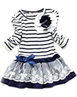 SOPO Toddler Baby Girls Striped Lace Dresses Cotton Cute 3-7Y Blue (3-4y)