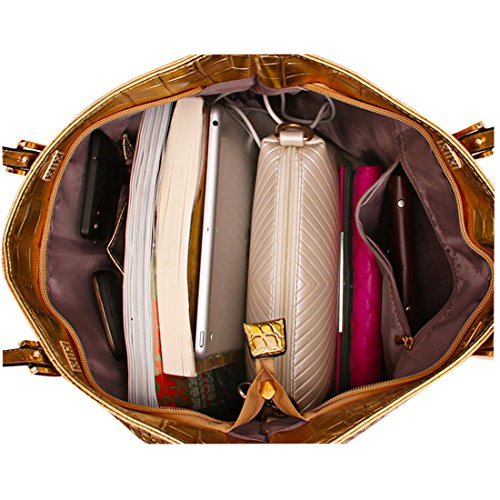 Foxom Frauen Weise PU Leder Handtasche + Umhängetasche + Schultertasche 3pcs Tote Hobo Tasche Set,Gold Golden