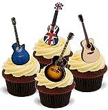 Couvre-gâteaux gaufrette comestible debout mix guitare acoustique - 2 x feuilles A5 - 12 images