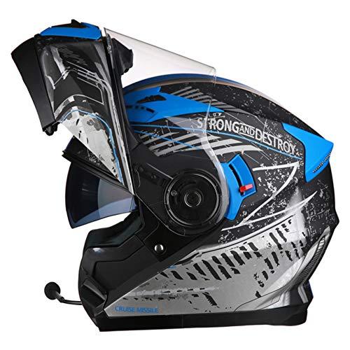 YNWJ Motorradhelm Klapphelm Mit Bluetooth Erwachsene Klapphelme Fur Motorrad Mit Sonnenblende L-XXL 55-63cm Motorradhelm Herren Klapphelm Integralhelm Helm,Blue+Bluetooth-XXL(62-63cm)