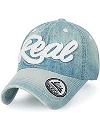 ililily REAL Denim klassischer Stil gewaschene Baumwolle verstellbarer Baseball Cap Trucker Cap Hut