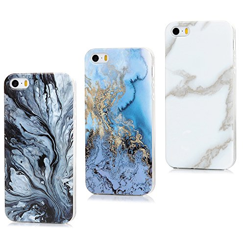 Funda iPhone SE Carcasa, Badalink 3 piezas de mármol de diseño de...