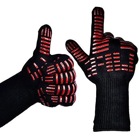 TTLIFE Guantes de cocina para barbacoa BBQ Parilla Horno guantes resistentes al calor hasta- 932°F - 1 Par