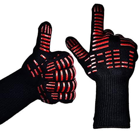 TTLIFE 932°F Extreme Heat Resistant Gloves Set of 2 - Kitchen Silicone Gloves Five Fingers - BBQ Grilling Cooking Gloves Heat Proof Oven Gloves Set - 1 Pair