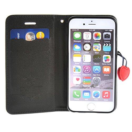 """MOONCASE Étui pour iPhone 6 / 6S (4.7"""") Cherry Magnetic Closure Cuir Housse de Étui à rabat Portefeuille Case Coque en Protection Noir Noir #1228"""