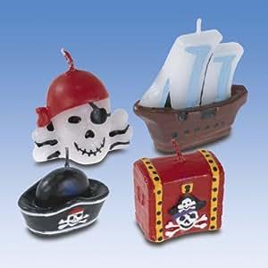 Lot de 4 Bougies Figurines Pirate - Anniversaire Enfant - Goûter enfant
