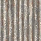 BHF FD22333 - Papel pintado, diseño de placa de acero corrugado, colorgris