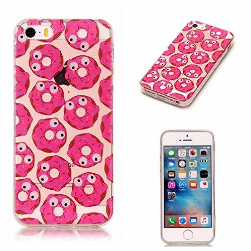 Cover iphone 5/5s/se,wanxideng cover in silicone tpu custodia morbida ultra sottile copertura di cristallo trasparente con motivo elegante - ciambella rosa