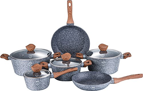Premium Quality 10 Piece Pan Complete Large Set, Cookware Set, Saucepan Set with Kitchen Accessories- Stainless Steel Marble Coated Suitable for Induction, Ceramic, Electric and Gas Cooktops. Eco Frindly Energy Effecient Marble Coated (Design 4)