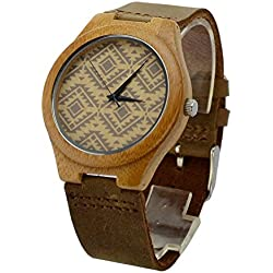 Niceshop Leder Band Bambus Fall Holz echtem Watch