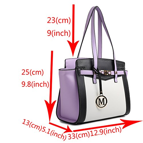 Miss LuLu Henkeltasche Damen Schultertasche Handtasche Umhängetasche für Uni, Urlaub, Shopping, Arbeit LG1640-Blau