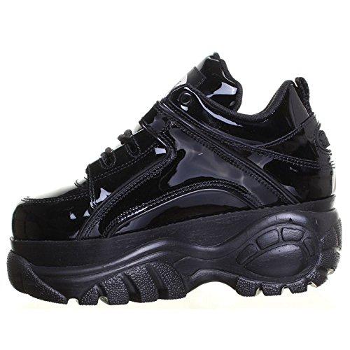 Buffalo Womens 1339-14 Patent Leather Shoes Black Patent