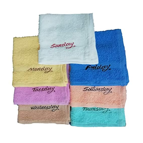 AV Pure Cotton Monday to Sunday Pack of 7 Face Towels for Ladies 12 x 12 Standard Size Multicolored Napkin/Towel/rumal/Handkerchief [7 pcs.]