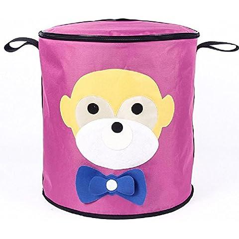 YYH Ropa sucia almacenamiento cestas rosa mono Pulse almacenamiento Cubo cubo almacenamiento canasta de almacenaje con tapa verde dibujos animados Inicio seguridad necesidades aislamiento multifuncional fresco