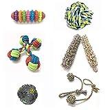 IKEAN Hundespielzeug Seil, 6Er Set Haustier Welpe Kauspielzeug, Ungiftiger Interaktives Robustes Ball Knot Wurf Schlepper-Spielwaren Für Mittelgroße Und Große Hunde