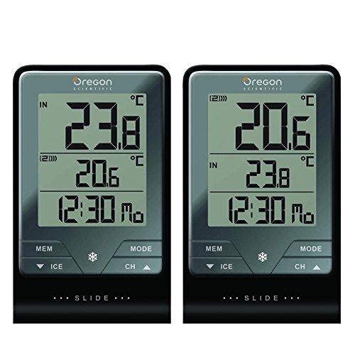 Oregon Scientific - Touch & Slide - Termometro con Orologio + Temperatura Indoor/Outdoor con Sensore Remoto - Rar813