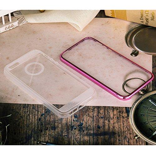 Cuitan Coque pour Apple iPhone 6 / 6S, TPU Etui Housse de Protection Souple 2 en 1 Galvanoplastie Cadre Pare-Chocs Bumper Case Coque d'Arrière Claire Ultra Mince Anti-Rayures Antichoc (Or) Rose Rouge