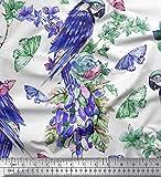 Soimoi Lila Viskose Chiffon Stoff Blumen, Schmetterling &