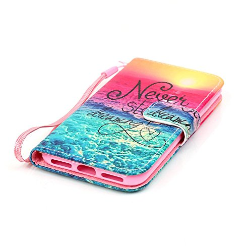Nancen Apple iPhone 7 / 8 hülle, Flip Case Wallet Cover with Stand Function, Folio Bookstyle Handytasche Soft Silikon Bunte Muster Lederhülle Tasche PU Leder Slim Backcover Shell Handyhülle. Never stop dreaming
