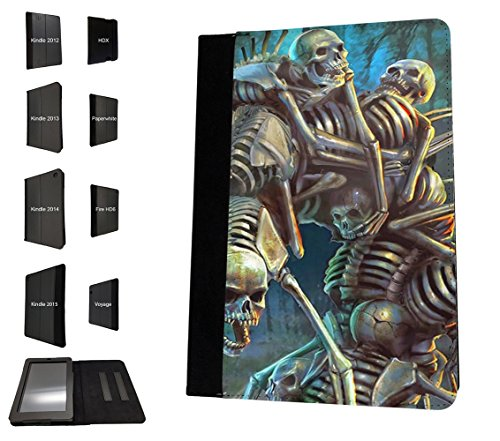 002600 - Skulls Undead Fun Skeleton Design Amazon Kindle HDX 7'' 4th Generation-2014/2015 Fashion Trend TPU Leder Brieftasche Hülle Flip Cover Book Wallet Stand halter Case (Kindle Hdx 4. Generation 7)