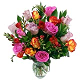 Clare Florist Midsummer Dream Fresh Flower Bouquet - Colourful Mixed Roses and Fragrant Freesia Hand Arranged By Our Expert Florists - Ideal Gift to say Congratulations and Happy Birthday