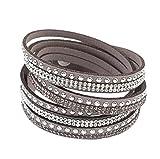 lumanuby Frauen Armband Lange Abschnitt Leder Armband Diamant Armband, mehrschichtige Armband geflochten, grau, 39.6*1.9*0.5cm