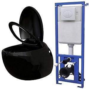 Festnight Inodoro Suspendido Pared con Cisterna Oculta – Color de Negro Material de Cerámica, 41x59x39 cm