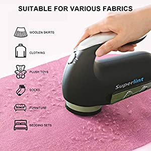 SUPER LINT Professional Electric Sweater Shaver Best Fuzz Pill Bobble Remover for Fabrics, Bedding, Clothes and Furniture, Use with Batteries or Power Adapter, Black & Silver