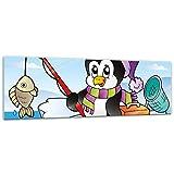 Glasbild - Kinderbild fischender Pinguin - 120x40 cm - Deko Glas - Wandbild aus Glas - Bild auf Glas - Moderne Glasbilder - Glasfoto - Echtglas - kein Acryl - Handmade